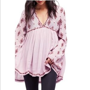 Free People embroidered bell sleeve tunic top